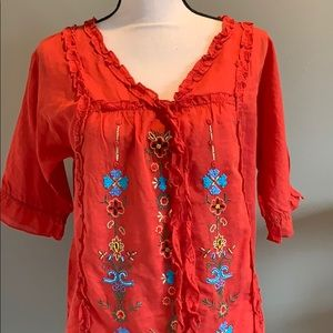 Sundance Embroidered Beaded Blouse